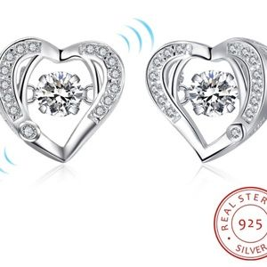 Jewelry - S925 Sterling Silver Dancing Stone Heart Earring
